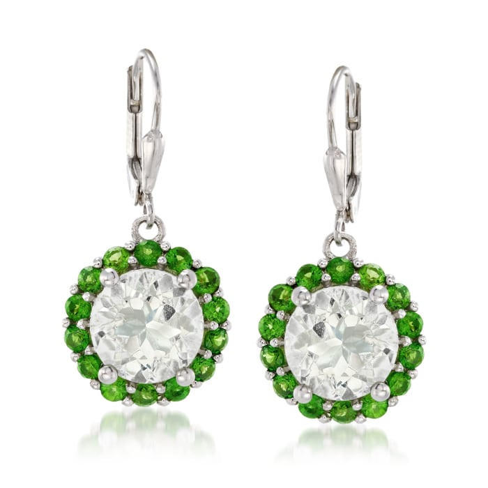 7.10 ct. t.w. Prasiolite and 1.80 ct. t.w. Green Chrome Diopside Drop Earrings in Sterling Silver