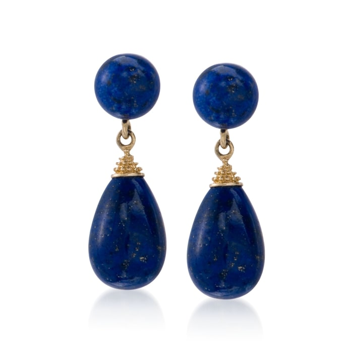 Blue Lapis Drop Earrings in 14kt Yellow Gold