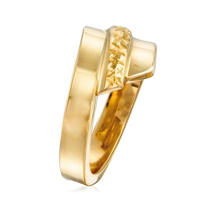 Italian 14kt Yellow Gold Diamond-Cut and Polished Ring