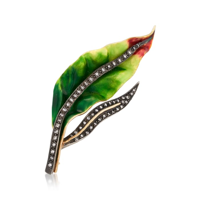 C. 1980 Vintage .43 ct. t.w. Diamond and Enamel Leaf Pin in 18kt Yellow Gold