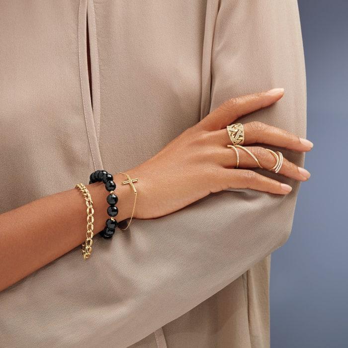 10-11mm Black Onyx Bracelet with 14kt Yellow Gold