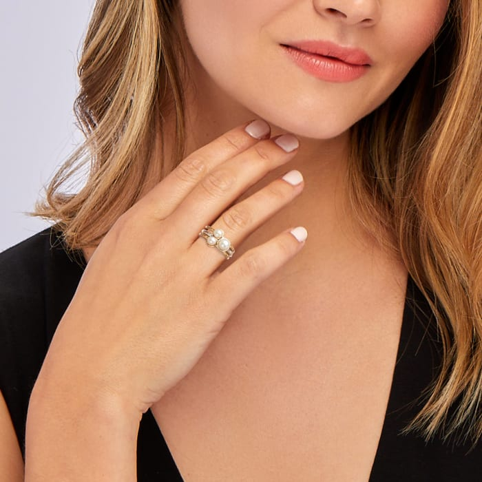 4-6mm Cultured Pearl Jewelry Set: Three Rings in Sterling Silver and 18kt Gold Over Sterling