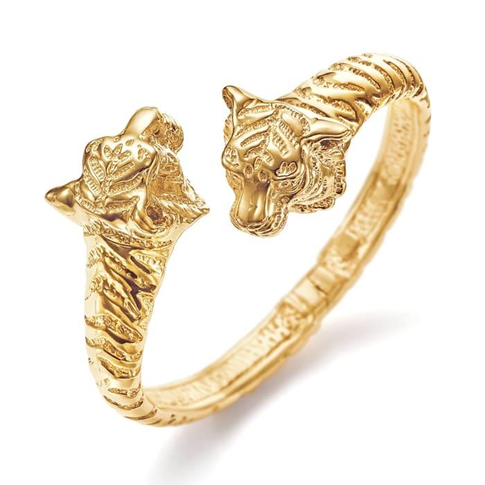 Italian 18kt Gold Over Sterling Silver Tiger Bypass Bangle Bracelet