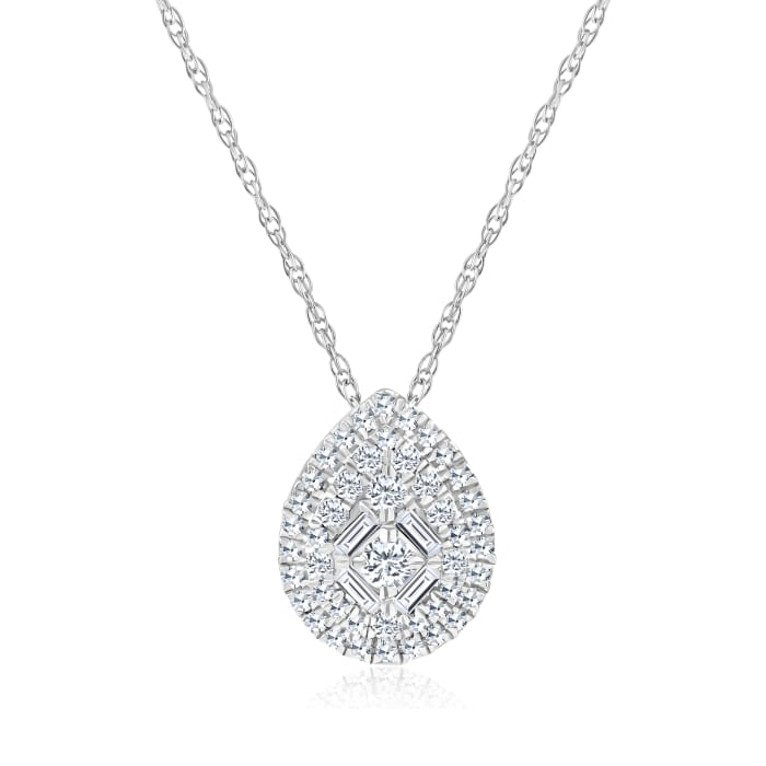 .20 ct. t.w. Baguette and Round Diamond Pear-Shaped Cluster Necklace in 14kt White Gold