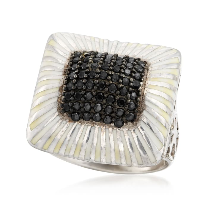 1.30 ct. t.w. Black Spinel and White Enamel Ring in Sterling Silver