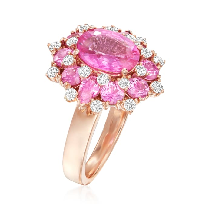 5.90 ct. t.w. Pink Sapphire and .55 ct. t.w. Diamond Ring in 14kt Rose Gold