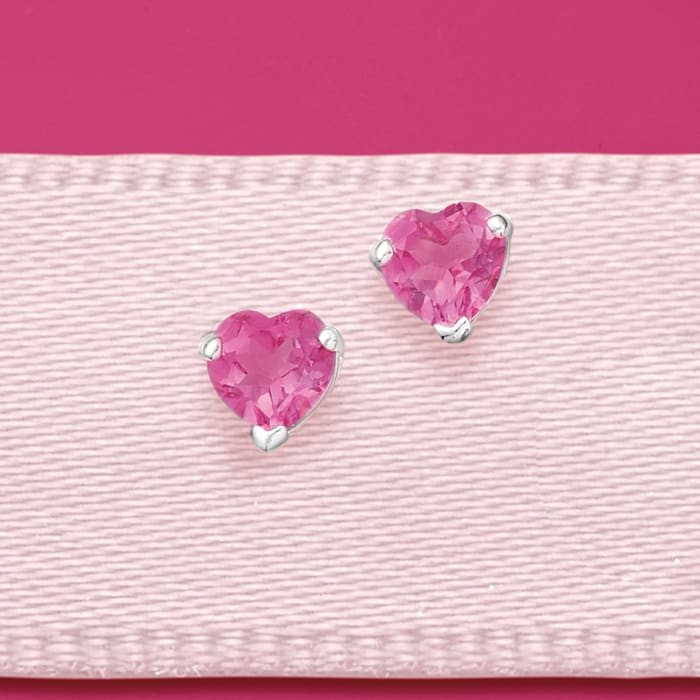 3.00 ct. t.w. Pink Topaz Heart Stud Earrings in Sterling Silver