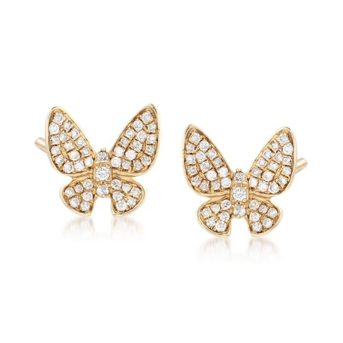 .45 ct. t.w. Diamond Butterfly Posts with J-Hoop Earring Jackets in 14kt Yellow Gold