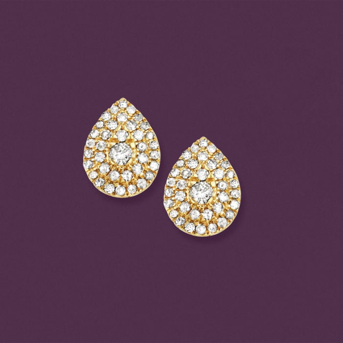 .50 ct. t.w. Diamond Cluster Pear-Shaped Earrings in 18kt Gold Over Sterling