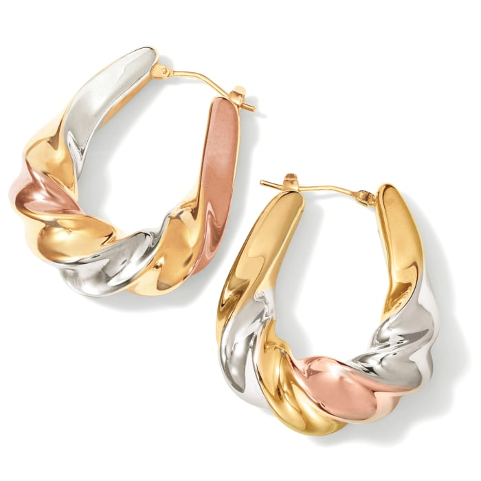 Italian Andiamo 14kt Tri-Colored Gold Over Resin Scalloped Hoop Earrings
