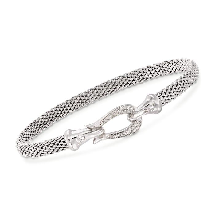 """Phillip Gavriel """"Popcorn"""" .13 ct. t.w. Diamond Horseshoe Hook Bracelet in Sterling Silver"""