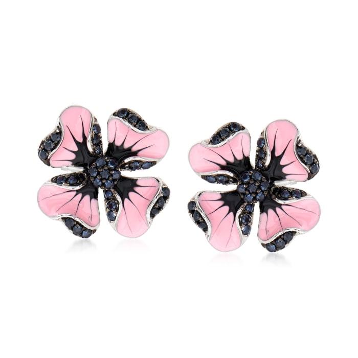 .40 ct. t.w. Black Spinel and Multicolored Enamel Flower Earrings in Sterling Silver