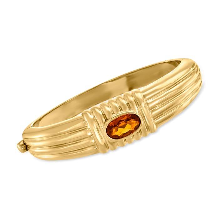 C. 1980 Vintage 2.50 Carat Citrine Bangle Bracelet in 18kt Yellow Gold