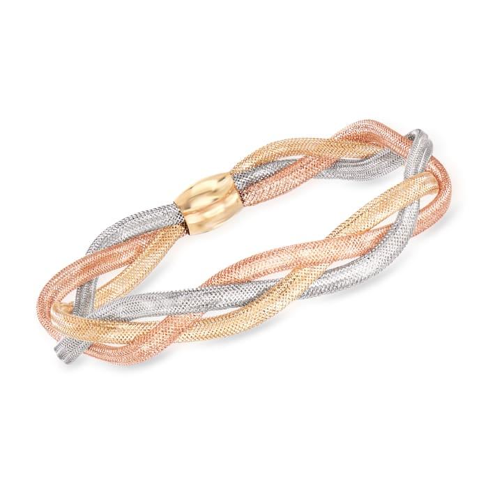 Italian 14kt Tri-Colored Gold Braided Mesh Bangle Bracelet