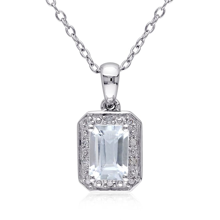 .90 Carat Aquamarine Pendant Necklace with Diamond Accents in Sterling Silver