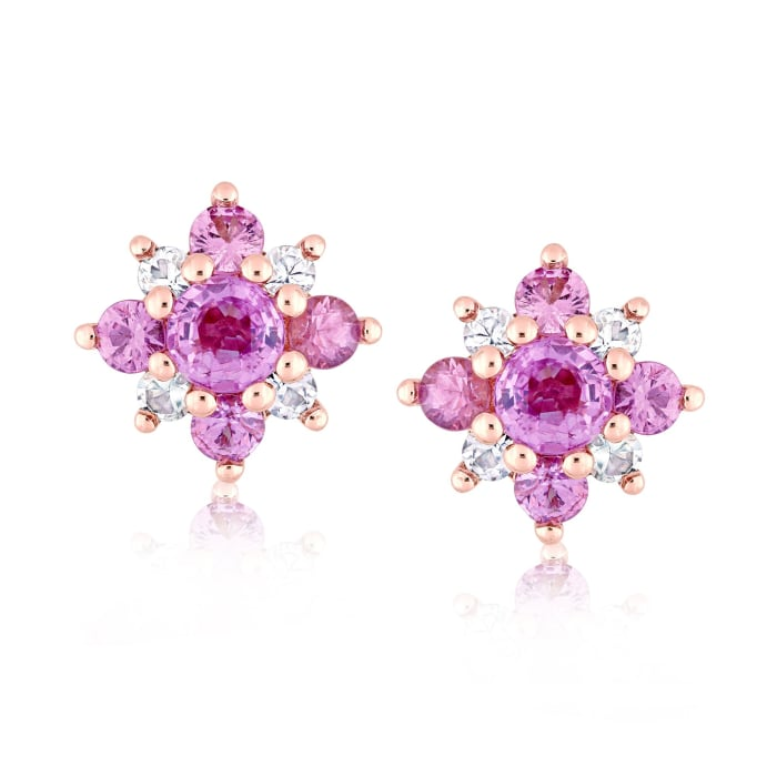 1.60 ct. t.w. Pink and White Sapphire Flower Earrings in 14kt Rose Gold
