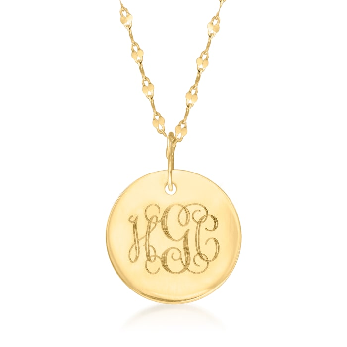 Italian 14kt Yellow Gold Personalized Disc Necklace