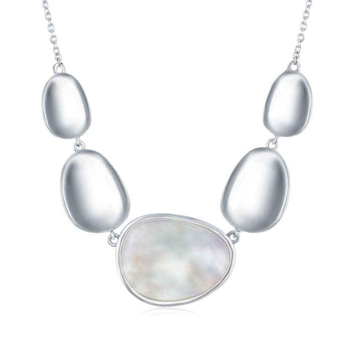 Mother-Of-Pearl and Sterling Silver Oval Disc Necklace