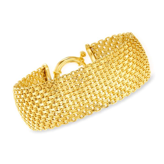 18kt Gold Over Sterling Silver Bismark-Link Bracelet