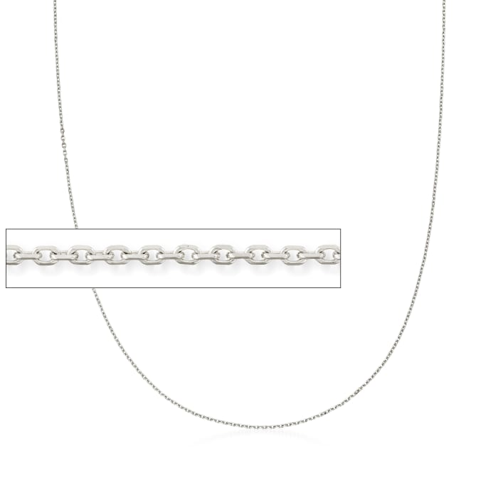 1.1mm 14kt White Gold Cable Chain Necklace