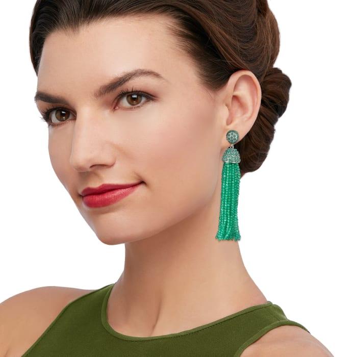 Green Chalcedony Bead Tassel Earrings in Sterling Silver