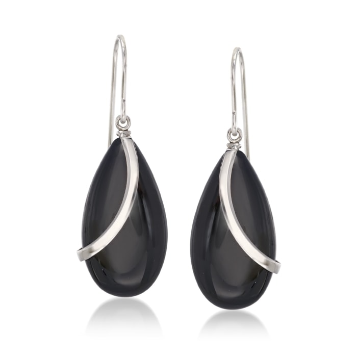 Black Onyx and Sterling Silver Curve Drop Earrings