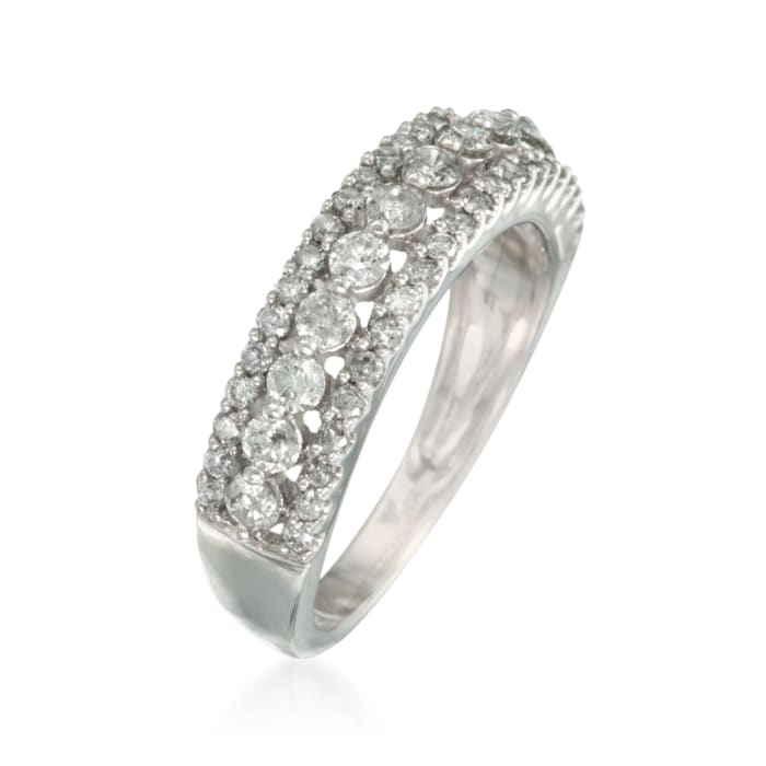 1.00 ct t.w. Diamond Vintage-Style Ring in 14kt White Gold