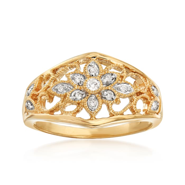 .10 ct. t.w. Diamond Floral Filigree Ring in 18kt Gold Over Sterling