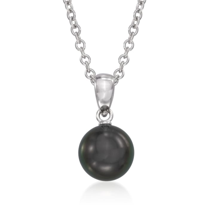 Mikimoto 8-8.5mm Black South Sea Pearl Pendant Necklace in 18kt White Gold