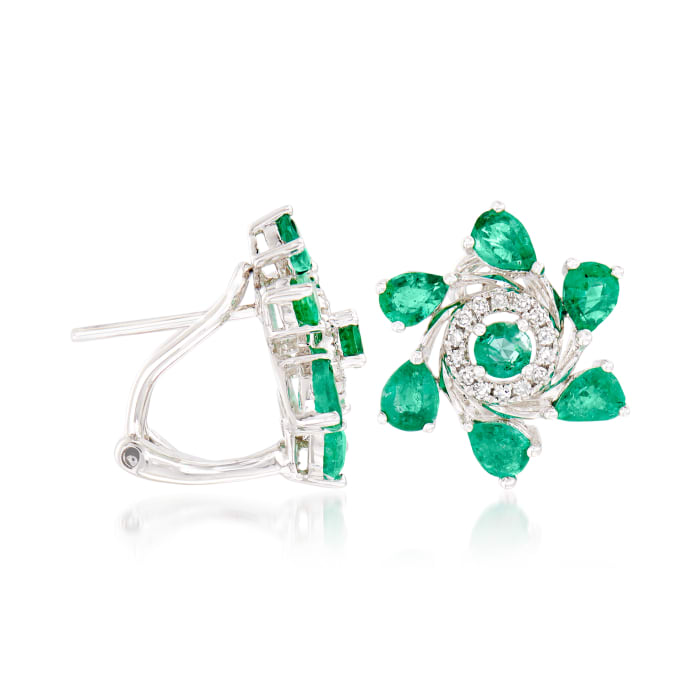 1.60 ct. t.w. Emerald and .10 ct. t.w. Diamond Floral Earrings in 18kt White Gold