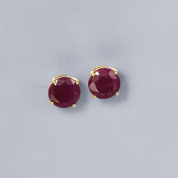 6.50 ct. t.w. Ruby Stud Earrings in 14kt Yellow Gold