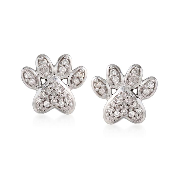 .10 ct. t.w. Diamond Paw Print Stud Earrings in Sterling Silver