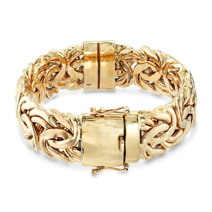 14kt Yellow Gold Byzantine Bangle Bracelet