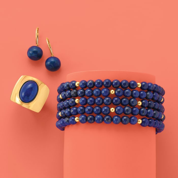 Blue Lapis Jewelry Set: Five Beaded Bracelets with 14kt Yellow Gold