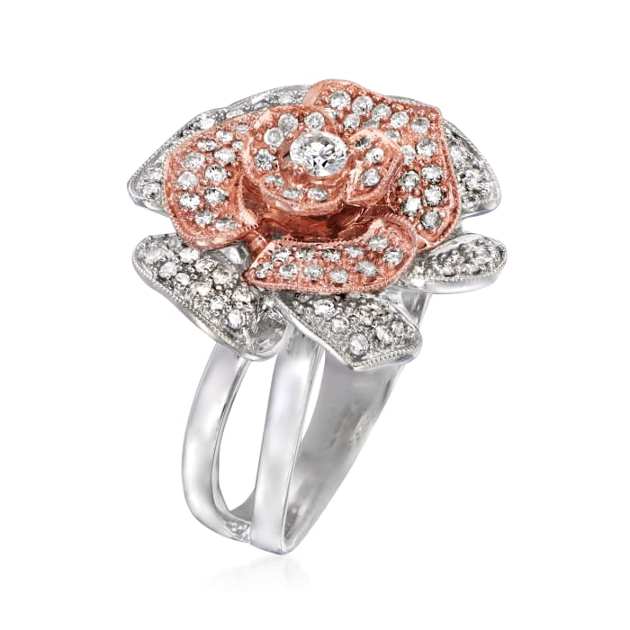 C. 1990 Vintage .65 ct. t.w. Diamond Flower Ring in 18kt Two-Tone Gold