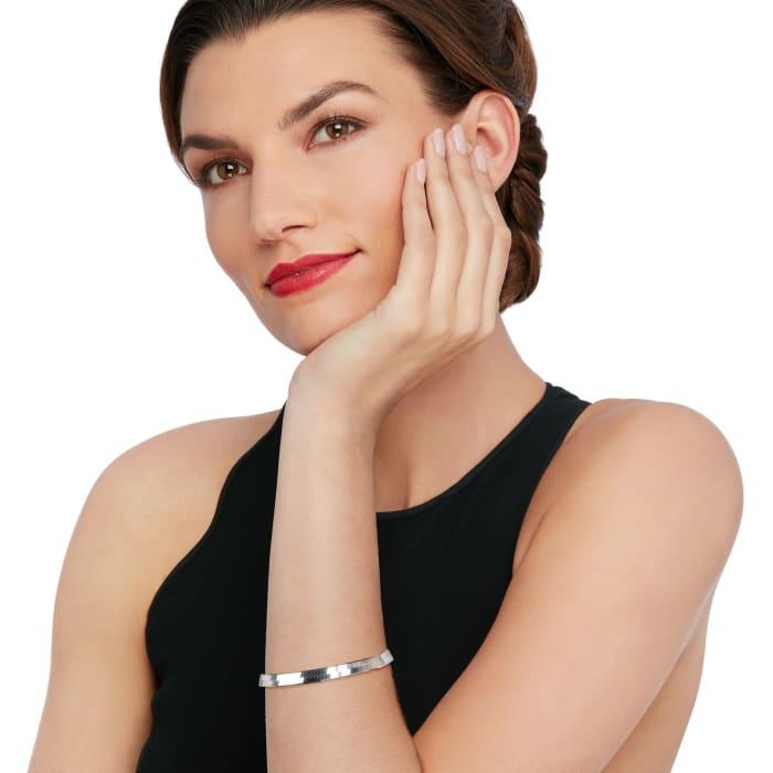 Italian 6mm Sterling Silver Herringbone Chain Bracelet