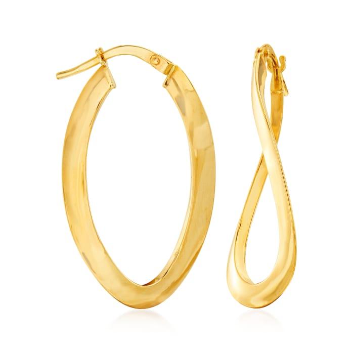 Italian 14kt Yellow Gold Curvy Oval Hoop Earrings