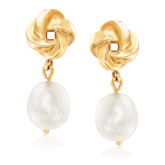 10x8mm Cultured Pearl Love Knot Drop Earrings in 14kt Yellow Gold