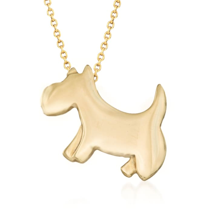 "Roberto Coin ""Tiny Treasures"" 18kt Yellow Gold Scottie Dog Pendant Necklace"