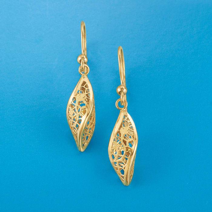 Italian 14kt Yellow Gold Twisted Lace Drop Earrings