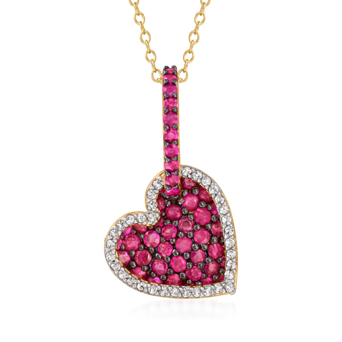 2.30 ct. t.w. Ruby and .35 ct. t.w. White Zircon Double-Heart Pendant Necklace in 18kt Gold Over Sterling