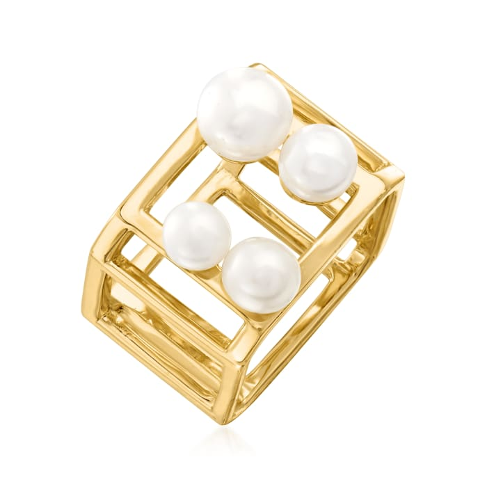 5-7mm Cultured Pearl Open-Space Cube Ring in 18kt Gold Over Sterling