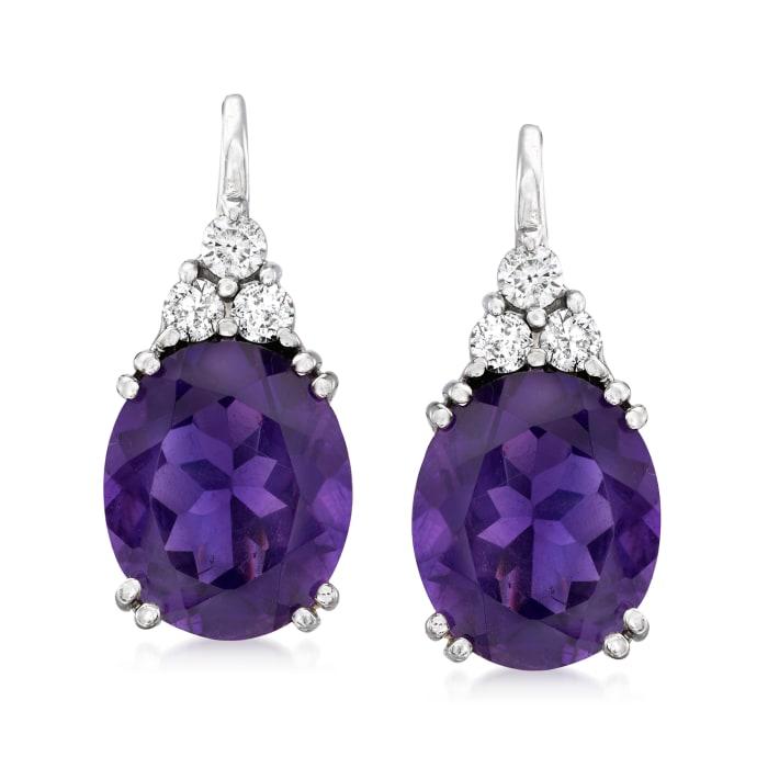 9.00 ct. t.w. Amethyst and .38 ct. t.w. Diamond Drop Earrings in 14kt White Gold