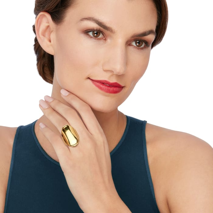 Andiamo 14kt Yellow Gold Over Resin Concave Ring