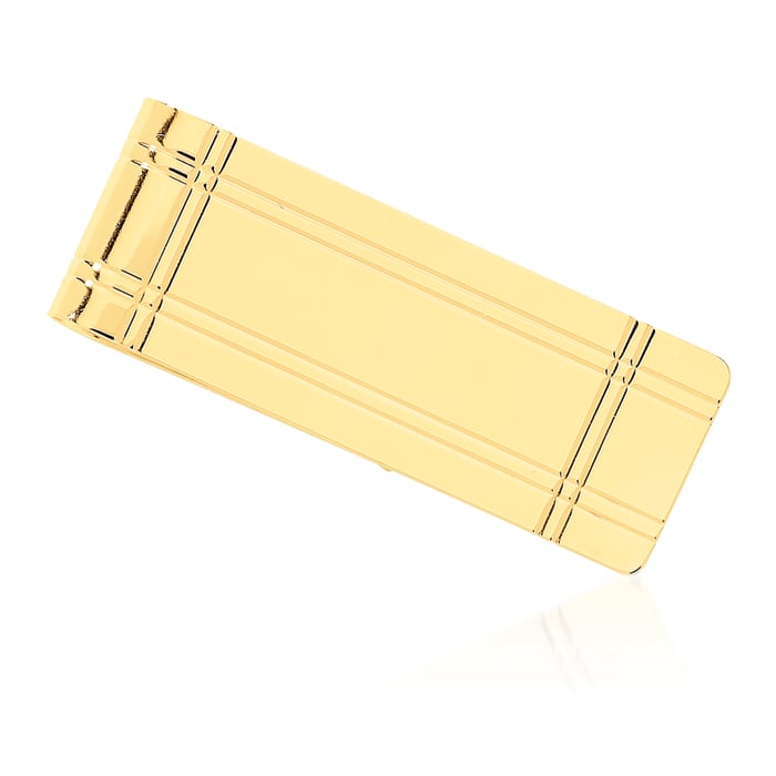 14kt Yellow Gold Grooved Engravable Money Clip