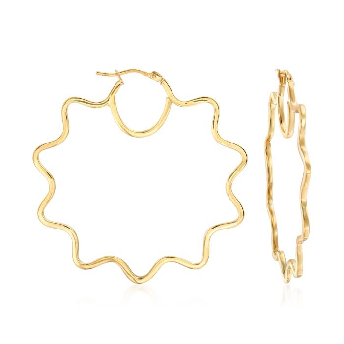 Italian 14kt Yellow Gold Wavy Hoop Earrings