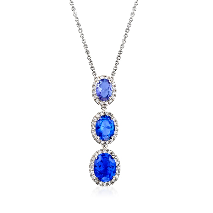 4.00 ct. t.w. Simulated Sapphire and .50 ct. t.w. CZ Drop Necklace in Sterling Silver