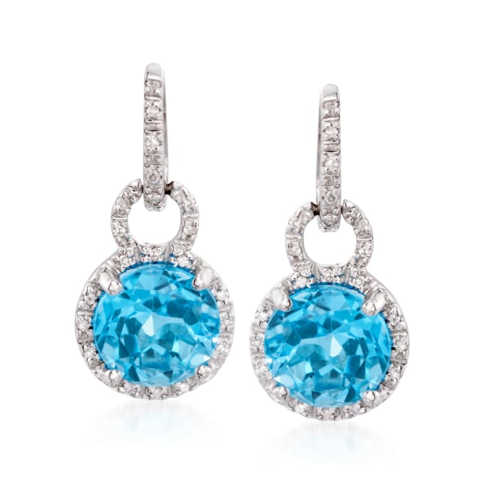 4.90 ct. t.w. Blue Topaz and .12 ct. t.w. Diamond Drop Earrings in 14kt White Gold