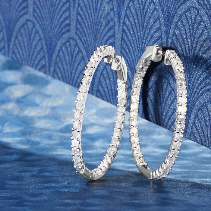 3.00 ct. t.w. Diamond Inside-Outside Hoop Earrings in Sterling Silver