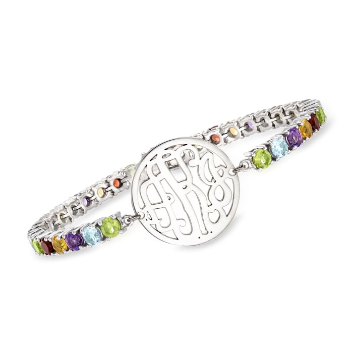 7.00 ct. t.w. Multi-Gemstone Bracelet with Framed Monogram in Sterling Silver